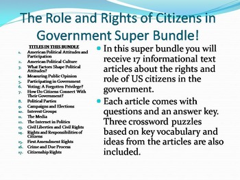 Info Reading Text - The Roles and Rights of Citizens Bundle (No Prep Sub Plans)