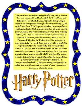 Informational Text: The Wizarding World of Harry Potter!