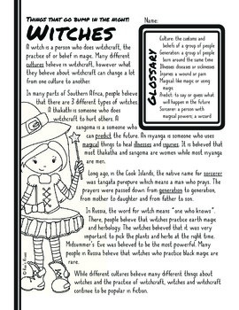 Informational Text: Halloween Monster   Reading Comprehension Passages/Questions