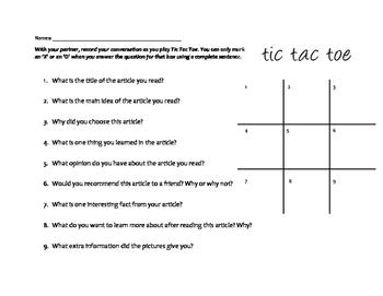 Informational Text Tic Tac Toe Conversation Board