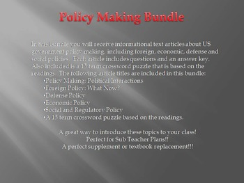 Info Reading Text - US Policy Making Bundle (No Prep Sub Plans)
