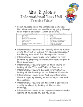 Informational Text Unit with Teaching Points