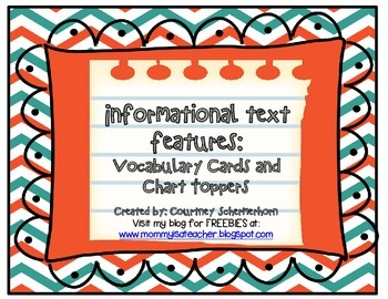 Vocabulary Cards-Informational Text (inc. Chart Toppers-Purpose/Features)