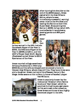 Informational Text: WHO DAT Nation: Drew Brees~ A Highly Decorated NFL Player!