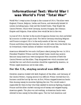 Informational Text: WWI (Total War)