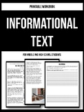 Informational Text Workbook Printable - Non-Fiction Close