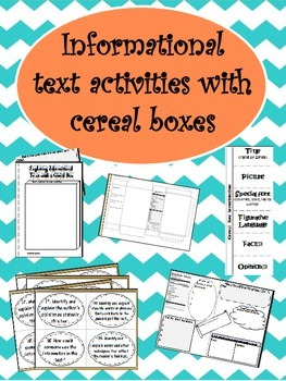 Informational Text activities using Cereal Boxes (11pgs)