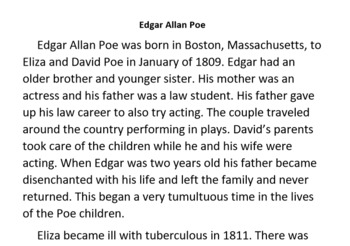 Informational Text and Comprehension Questions For Edgar Allan Poe