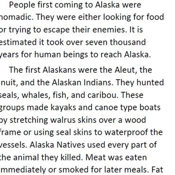 Informational Text and Comprehension Questions for Alaska