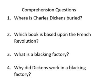 Informational Text and Comprehension Questions for Charles Dickens
