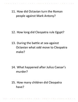 Informational Text and Comprehension Questions for Cleopatra