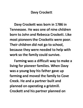 Informational Text and Comprehension Questions for Davy Crockett