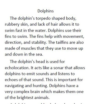 Informational Text and Comprehension Questions for Dolphins