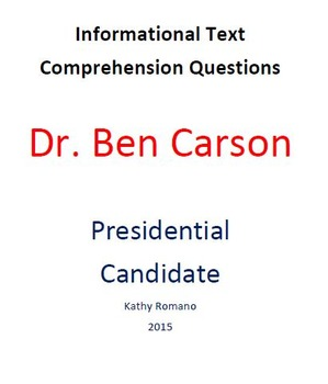 Informational Text and Comprehension Questions for Dr. Ben Carson