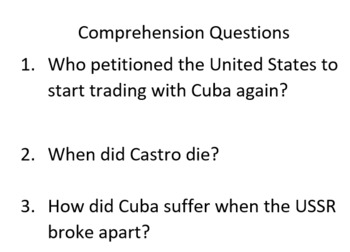 Informational Text and Comprehension Questions for Fidel Castro