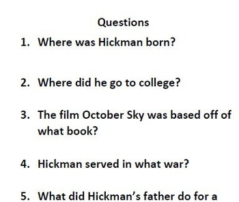 Informational Text and Comprehension Questions for Homer Hickman