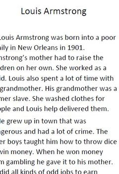 Informational Text and Comprehension Questions for Louis Armstrong