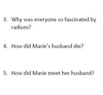 Informational Text and Comprehension Questions for Marie Curie