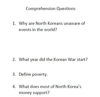 Informational Text and Comprehension Questions for North Korea