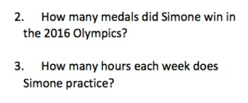 Informational Text and Comprehension Questions for Simone Biles