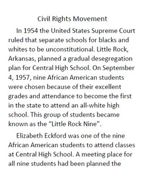 Informational Text and Comprehension Questions for The Civil Rights Movement