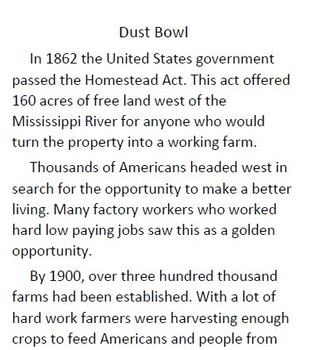 Informational Text and Comprehension Questions for The Dust Bowl