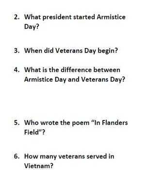 Informational Text and Comprehension Questions for Veterans Day