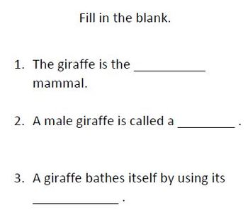 Informational Text and Comprehension Questions for the Giraffe