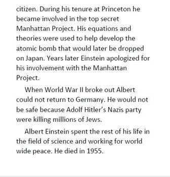 Informational Text and Comprehension Questions on Albert Einstein