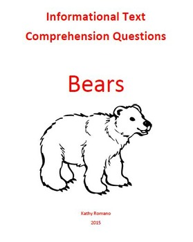 Informational Text and Comprehension Questions on Bears