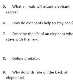 Informational Text and Comprehension Questions on Elephants