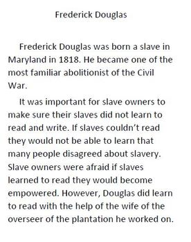 Informational Text and Comprehension Questions on Frederick Douglas