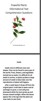 Informational Text and Comprehension Questions on Plants.