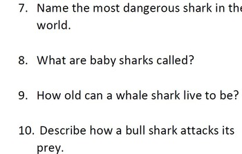 Informational Text and Comprehension Questions on Sharks