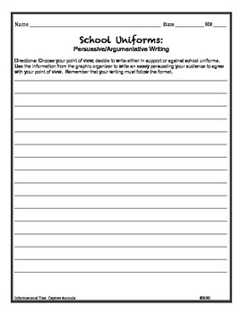 text and persuasive argumentative writing school uniforms informational text and persuasive argumentative writing school uniforms