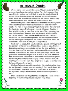 Informational Text and Questions About Plants - Common Core Aligned