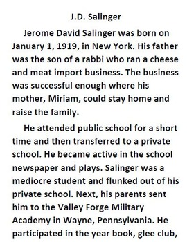 Informational Text and Questions about J.D. Salinger