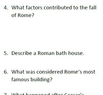 Informational Text and Questions about Rome