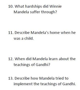 Informational Text and Questions for Nelson Mandela