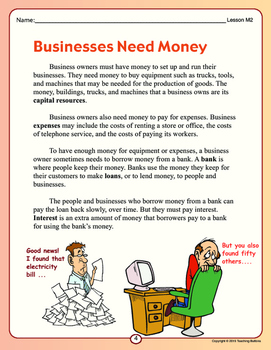 Learn about business and being an entrepreneur! Fun text and worksheets