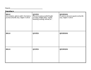 Informational Text or Literature Reading Response Graphic Organizer