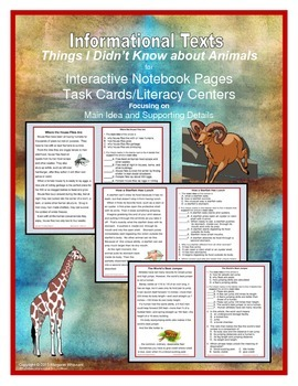 Informational Text for Interactive Notebooks and Task Card