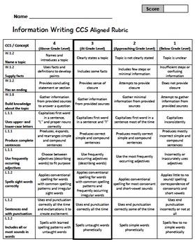 Informational Writing 1st Grade Rubric