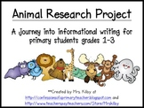 Informational Writing - Animal Research Project for Primary Students Grades 1-3