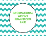 Informational Writing Brainstorm Page