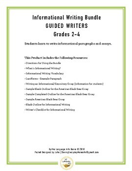 Informational Writing for Guided Writers - Grades 2-4