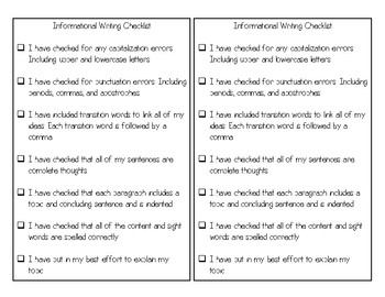 Informational Writing Checklist