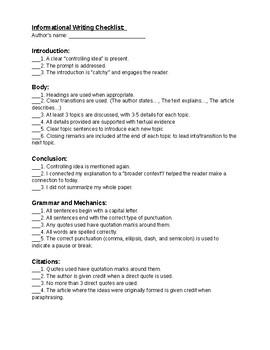 Informational Writing Checklist