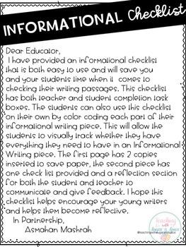 Informational Writing Checklist Grades 3,4,5