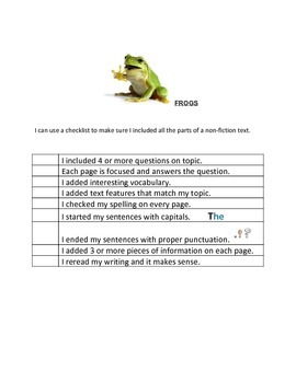 Informational Writing Checklist (Readygen 1B Elephants/Frogs) Grade 1